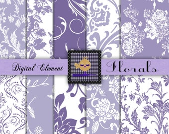 Commercial Use: Digital Scrapbook Paper, Lilac Scrapbook Paper, Lavender Floral Paper, Lavender and White Scrapbook Paper. No. 101.DA