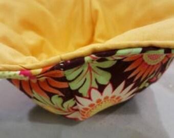 Microwave Bowl Cozy Flowers mustard