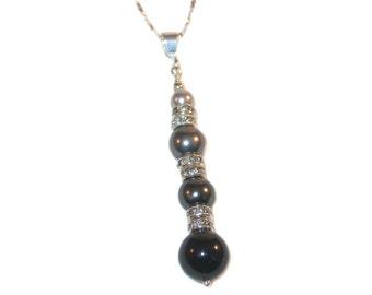 BLACK OMBRE Pearl Pendant Sterling Silver Long Drop Swarovski Elements Light Dark Grey Gray Mystic Black