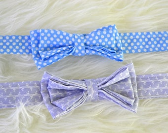 Easter Bow Ties, blue polka dots, grey floral, baby boy, toddler, 2 to 5 year old, handsome, one of a kind, ready to ship