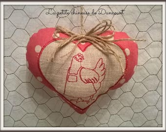 Hollow Moon embroidered red heart