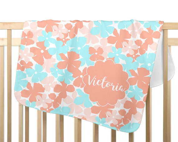 Coral and Aqua Baby Blanket with Personalized Name