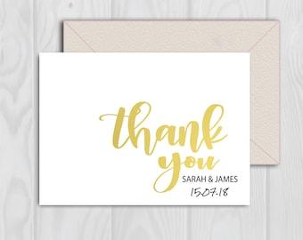Wedding Thank You Card, Thank You Card, Faux Gold Wedding Printable, Wedding Thank You, Instant Download, Gold Wedding Stationary
