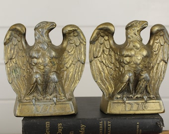 Pair Vintage 1776 Metal Eagle Bookends, Set of Two 2, Book Ends, Historical History Regal Bird, Year 1776, Heavy Metal, Aged Worn Patina Old