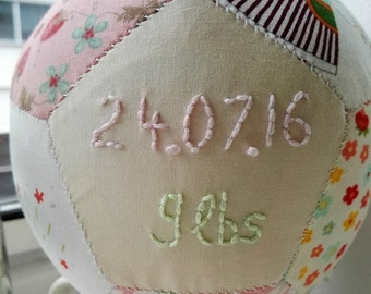 Personalised unique baby gift, handstitched gift, baby girl christening gift, toy rattle, date of birth