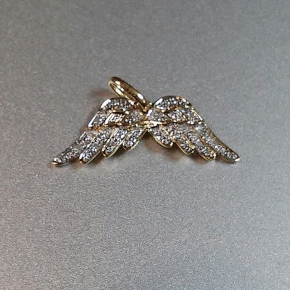 White diamond and 14k solid gold angel wings pendant charm aloadofball Choice Image