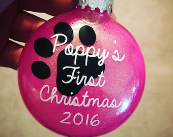 Personalized Shatterproof Puppy's First Christmas Ornament Dog Cat First Christmas Pet First Christmas