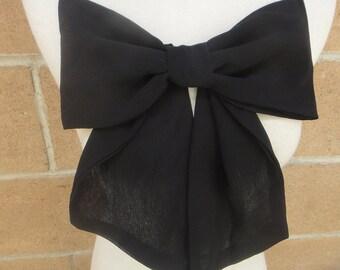 Cute chiffon bow black color 11 inch across