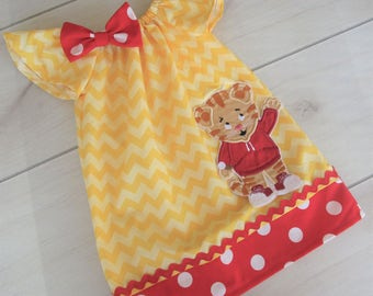 Custom Boutique Adorable Daniel The Tiger Peasant Dress/Personalized/FREE NAME EMBROIDERY