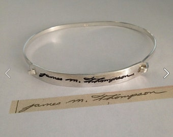 Signature Bracelet - Memorial Handwriting Message - Ultra Thin Silver Tension Bracelet - Made to Order
