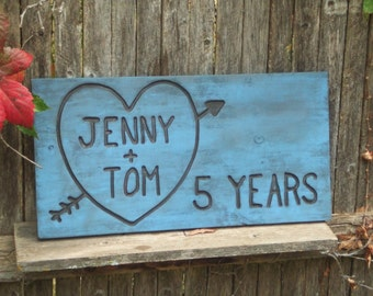 Valentine's Day Painted Anniversary  Wedding  Heart Rustic Custom Carved wood sign from reclaimed wood - personalized with initials  - cedar