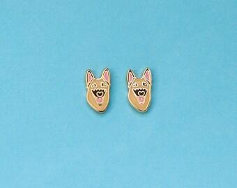 German Shepherd Earrings with Rubber Stud // Hard Enamel, Jewelry, Studs