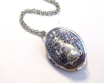 Silver Bunny Locket, Antiqued Silver Floral Locket, Silver Rabbit Locket, Oval Silver Locket Pendant Necklace