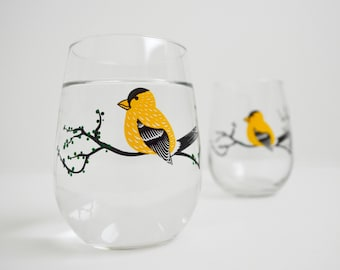Yellow Finch Glasses - Set of 2 Hand Painted Stemless Glasses, Mothers Day Gift, Mother's Day, Summer Trees, Golden Finch, Yellow Birds