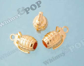 3D Gold Tone Hand Grenade Charms, Grenade Charm, 22mm x 13mm (R2-162)