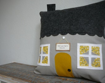 House Pillow - Pillow Cover - Yellow - Grey - Black - Housewarming Gift - Personalize