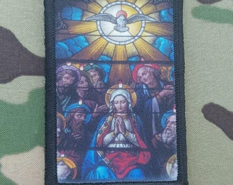 Virgin Mary Stained Glass style Morale Patch Catholic