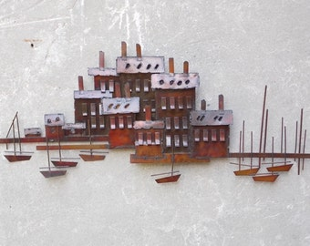 C Jere Seaside Village Metal Sculpture Wall Hanging