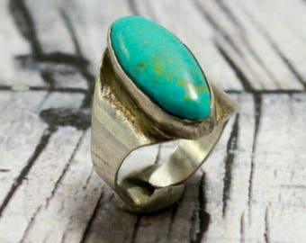 Vintage Sterling Silver Ring Turquoise Old Pawn 925 Mexico Zuni Oblong  Adjustable