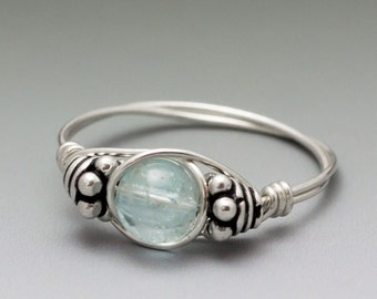 Blue Topaz Sterling Silver Wire Wrapped Bali Bead Ring - Made to Order, Ships Fast!