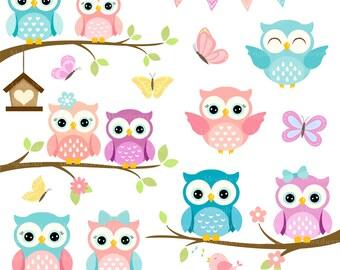 Owls Clipart 'CUTE OWL CLIPART' Digital Owls Clipart. Baby Shower Clipart. Pink Owls. Owl Clipart. Owl Birthday Invitation. Shower Clipart