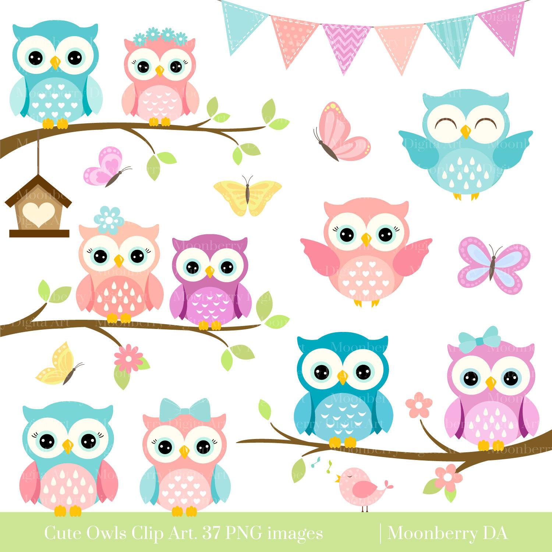 Owls Clipart 'CUTE OWL CLIPART' Digital Owls Clipart.