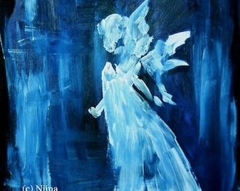 Acrylic Painting Blue Angel Original Canvas Painting Spiritual Art Angel Art Original Acrylic Painting Canvas Art