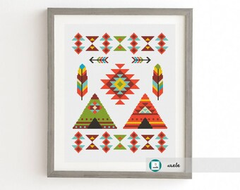 Ethnic tribal cross stitch pattern,modern pattern, PDF, DIY ** instant download**free shipping