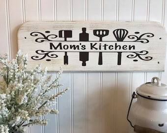 Mom's Kitchen Sign, Gift For Mom, Farmhouse Signs, Distressed Sign, Rustic Wood Sign, Country Decor, Christmas Gift
