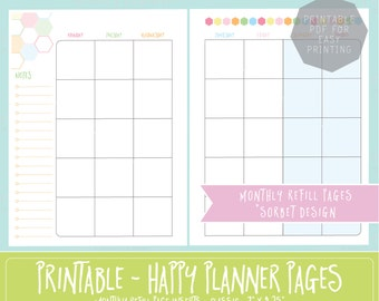 HAPPY PLANNER PRINTABLE Monthly Planner Refills / Inserts - 7 x 9.25 | Sorbet | Create 365 | Me & My Big Ideas | mambi | Undated | Monday