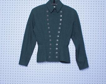Vintage 80s Azzedine ALAIA Double Breasted Military Blazer