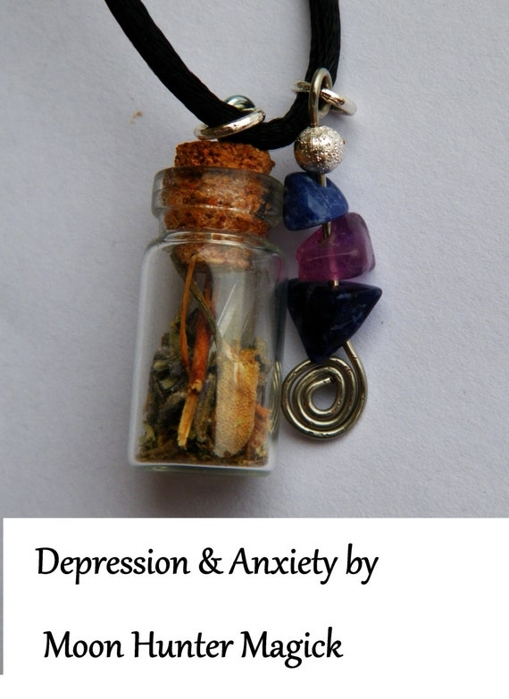 Depression & Anxiety Charm Bottle Necklace Pagan Wicca Reiki Ritual Depression Amulet