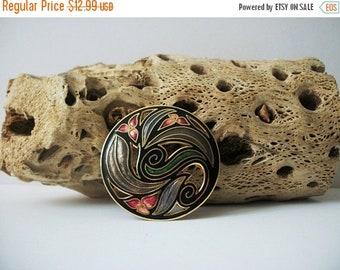ON SALE Vintage Colorful Circular 1980s Cloisonne Pin 5917