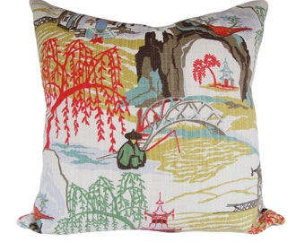 Asian Neo Toile Decorative Pillow Cover - Robert Allen - Both Sides - 12x16, 12x20, 14x24, 16x16, 18x18, 20x20, 22x22, 24x24