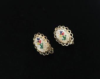 Vintage Clip Embroidered Earings, Goldtone, Estate