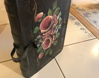 Victorian Painted - tin Keepsake box