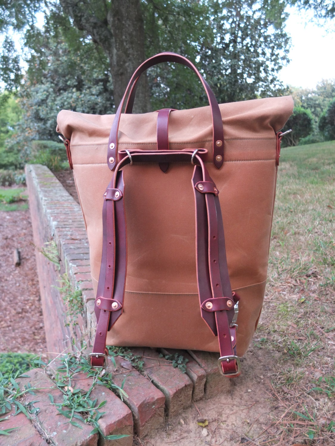 Waxed Canvas Roll Top Rucksack Backpack Option Leather