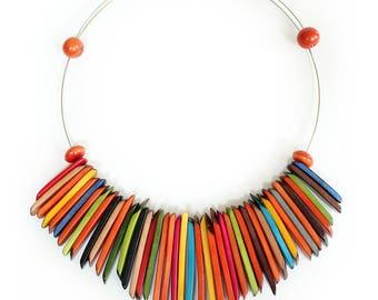 Fringe Tagua Choker Multicolor