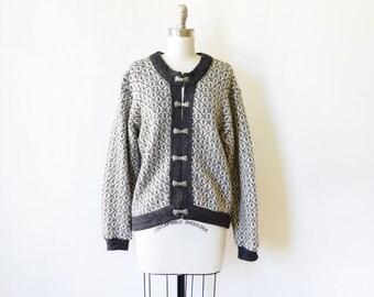 80s wool cardigan sweater, vintage L.L. Bean cardigan, Norwegian Scandinavian wool sweater, medium large