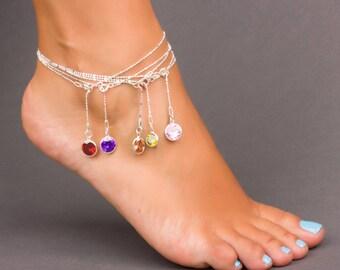 Birthstone Anklet - Swarovski Ankle Bracelet for Women - Sterling Silver Anklet - Stone Anklet - Bridesmaid Anklet - Foot Jewelry- 0046BA