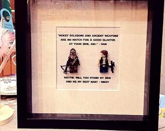 Han Solo and Chewbacca Chewie Star Wars Personalised Best Man Proposal Wall Art Box Frame  Best Friend Groom Boyfriend Husband Birthday