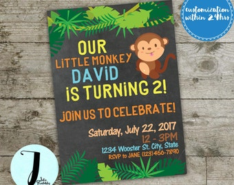 Monkey Birthday invitation, monkey party invitation, monkey party invite, zoo invitation, jungle party invitation, kids party invitation