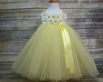 Yellow daisy tutu dress & headband for baby toddler to 2T 3T Ready to ship flower girl birthday cake smash rustic wedding pageant photo prop