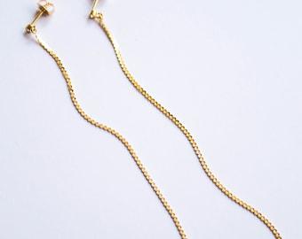 Snake -earrings (16K gold plated linear snake chain long sleek earrings)