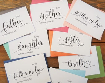 WEDDING DAY CARDS, Groom Card, Bride Card, Mother of the Bride Card, Father of the Bride Card, Wedding Cards, Wedding Thank You Cards