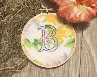 Monogram Hoop Letter B Embroidery Hoop Art - Baby Shower Gift - Baby with B Name