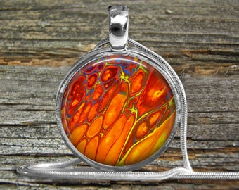 Acrylic Pour Necklace Orange Yellow Blue-Silver ball-Snake Chain-Woman Gift-Wedding-Bride-Abstract Acrylic Abstract Painting-Pour Jewelry