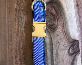 Blue Herringbone large dog collar