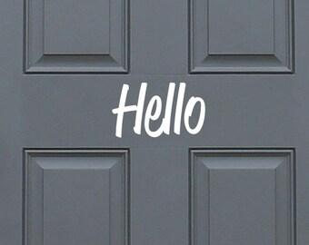 Hello -  entryway front door vinyl decal sticker, home decor. Great Gift Idea
