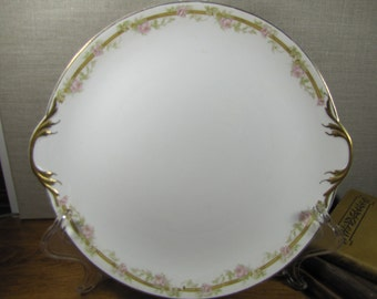 Vintage Pope Gosser - Two Handled Serving Plate - Pale Pink Flowers - Gold Accent - Deep Yellow Band